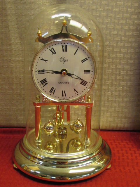 Lot Detail GOLD TONE ELGIN QUARTZ GLASS DOME PENDULUM CLOCK WALL