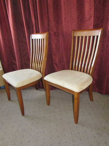 Lot detail two nice wood side chairs with upholstered