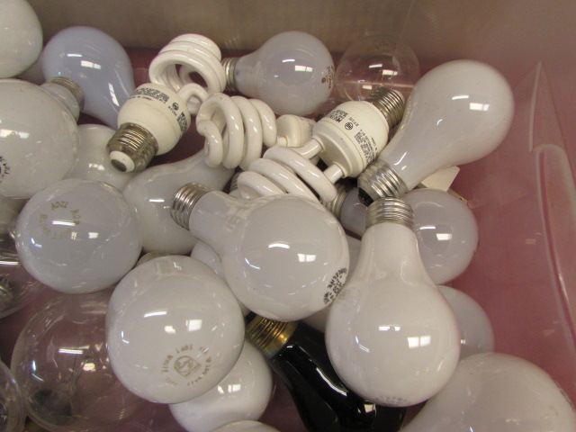 ... OODLES OF LIGHT BULBS   BOX FULL OF VARIOUS SIZES U0026 STYLES OF BULBS PLUS  A ...