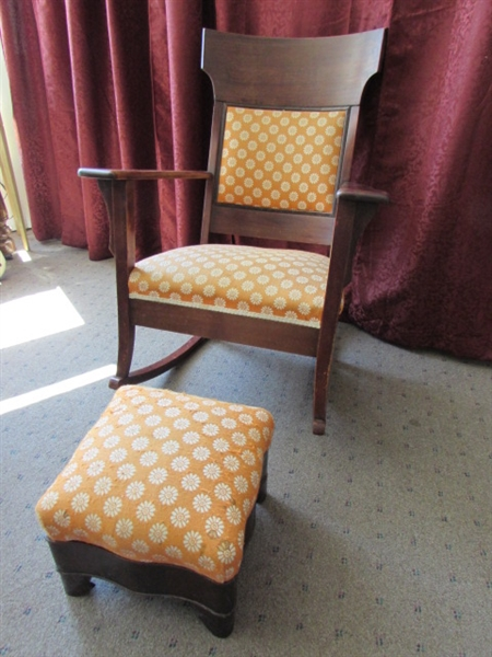 Lot Detail Rock In Comfort Antique Upholstered Rocking