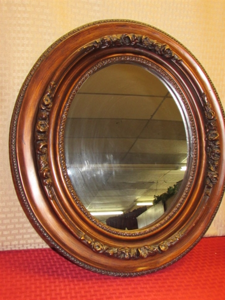 Lot detail stunning oval mirror with dimensional for Embellished mirror frame