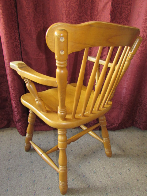 Lot Detail Charming Vintage Maple Captains Chair Made By