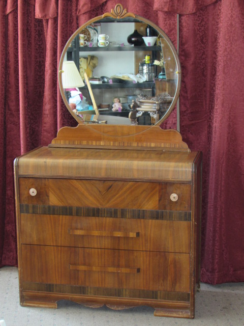 Lot Detail Gorgeous Antique Waterfall Dresser With Round Mirror
