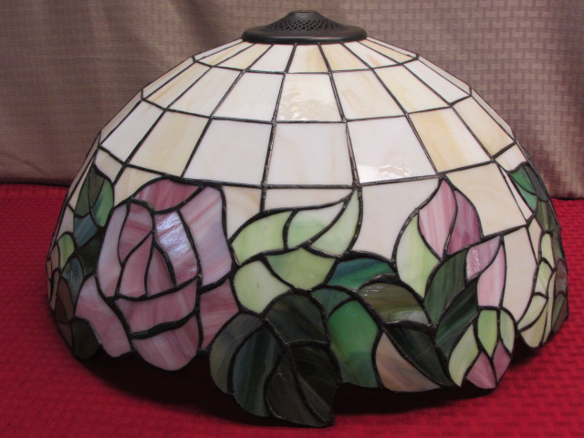 Lot detail elegant custom made tiffany style hanging glass lamp elegant custom made tiffany style hanging glass lamp shade with floral design aloadofball Image collections