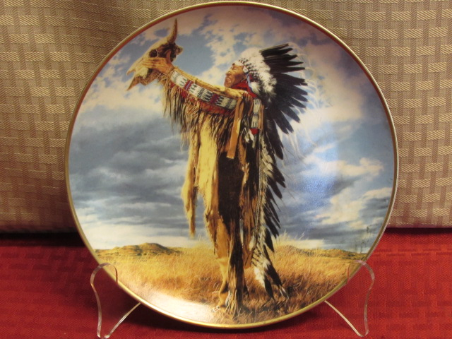 beautiful native american dcor warrior on horseback wall clock collectible plate two pretty - Native American Decor