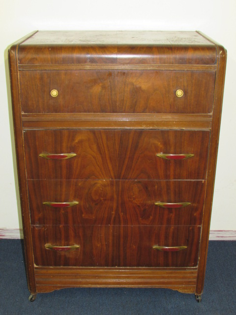 Lot Detail BEAUTIFUL ART DECO WATERFALL DRESSER