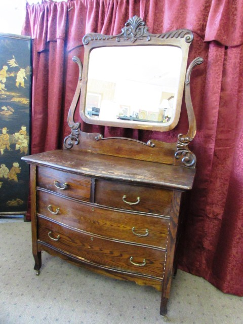 Captivating Antique Bowfront Victorian Dresser With Beveled Cheval Harp Shaped Mirror