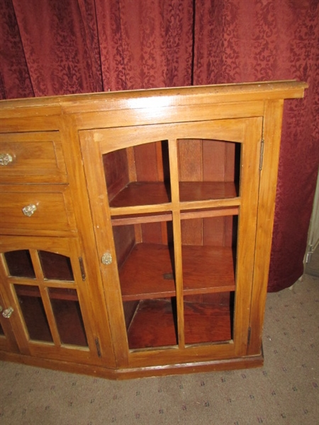 Lot detail charming rustic all wood side board cabinet