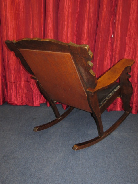 ... HANDSOME & UNIQUE ANTIQUE MAHOGANY ROCKING CHAIR WITH CARVED LIONS  HEADS, UPHOLSTERED SEAT & BACKREST - Lot Detail - HANDSOME & UNIQUE ANTIQUE MAHOGANY ROCKING CHAIR WITH