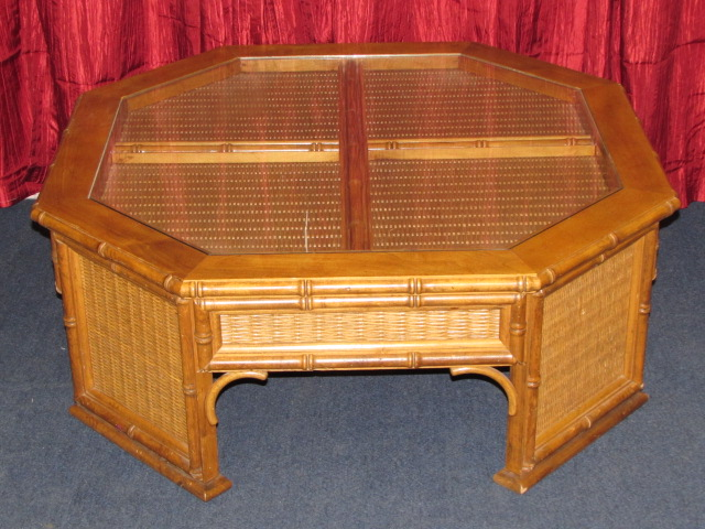 Lot Detail High Quality Attractive Wood Coffee Table With Cane Accents Glass Inserts