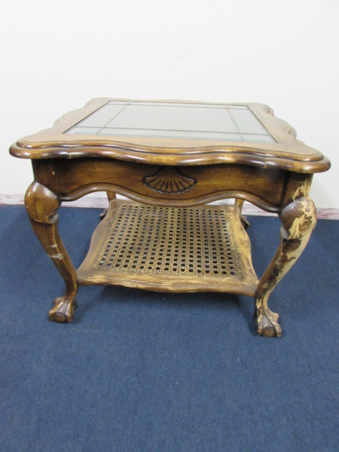 ... VINTAGE QUEEN ANNE STYLE SIDE TABLE WITH LEADED U0026 BEVELED GLASS TOP, ...