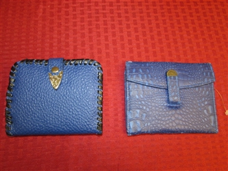 TWO BEAUTIFUL BLUE NEVER USED WALLETS WITH A LITTLE WESTERN FLAIR