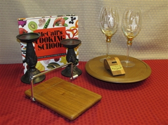 WINE & CHEESE BY CANDLELIGHT! CANDLESTICKS, CHEESE CUTTING BOARD, GOLD ACCENTED WINE GLASSES ...