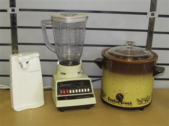 MAKE LIFE EASIER IN THE KITCHEN-STONEWARE CROCK POT, OSTER BLENDER & ELECTRIC CAN OPENER