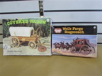 WAY OUT WEST WELLS FARGO STAGECOACH & A PRECUT WOODEN COVERED WAGON MODELS
