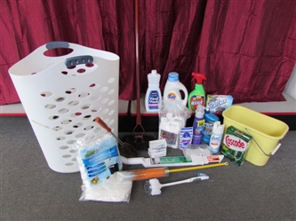 SPRING CLEANING - HAMPER, BAR & LAUNDRY SOAP, WONDER WAND, MOP HEADS, MOP BUCKET & MORE