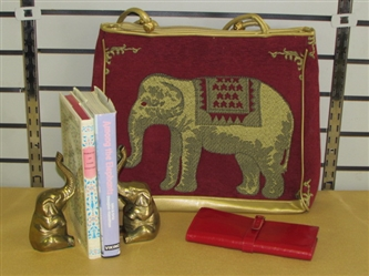WONDERFUL BRASS ELEPHANT BOOKENDS, NEW HANDBAG WITH MATCHING LEATHER WALLET & MORE