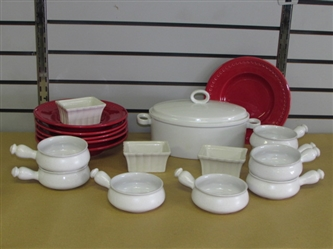 VALENTINES DAY SOUP & SALAD! MIKASA TUREEN, STONEWARE BOWLS WITH HANDLES, RED SALAD BOWLS & MORE
