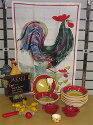 COLORFUL COUNTRY CHICKENS-ROOSTER HOLDING CHALKBOARD, BOWLS, LINEN TOWEL, WHISK, WOODEN TOY & MORE
