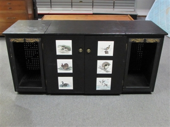 LARGE WOOD MULTI USE CABINET WITH INLAID BIRD TILES