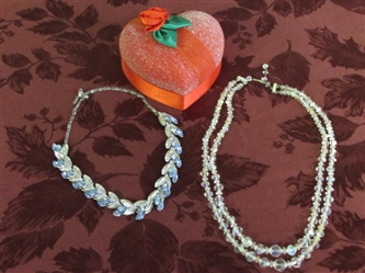 VALENTINES DAY VINTAGE SWAROVSKI CRYSTAL & BLUE RHINESTONE NECKLACES IN GLASS BEADED HEART BOX