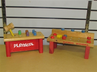 DONT FORGET ABOUT THE BABY! TWO VINTAGE WOOD PLAYSKOOL WORKBENCHES