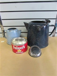 TIME FOR COFFEE! VINTAGE GRANITE/ENAMEL WARE COFFEE POTS