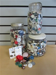 VINTAGE & WE MEAN OLD BUTTON COLLECTION IN COLLECTIBLE JARS. HUNDREDS OF DOLLARS IN BUTTONS