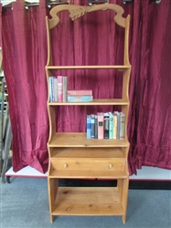 CARVED WOOD SHELVING UNIT WITH DRAWER