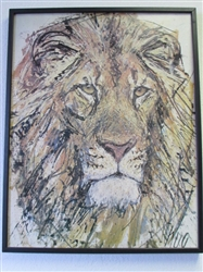 LARGE EYE CATCHING FRAMED LION PRINT