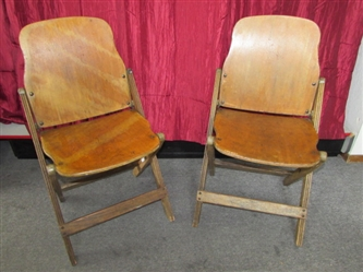 A RARE FIND! TWO VINTAGE FOLDING THEATER SEATS