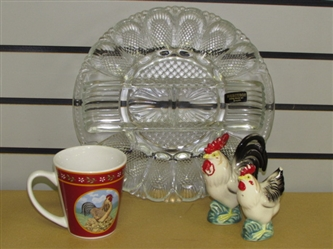 WHAT CAME FIRST? THE CHICKEN OR EGG? VINTAGE NEW DEVILED EGG RELISH PLATE, CHICKEN S&P SHAKERS & MUG