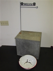 WELCOME TO THE GARDEN! OLD GALVANIZED MILK BOX W/ HINGED LID, ENAMEL WARE BOWL & WELCOME SIGN