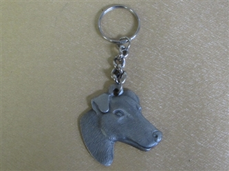 I LOVE MY FOX TERRIER! PEWTER KEYCHAIN SHAPED LIKE YOUR BEST FRIEND