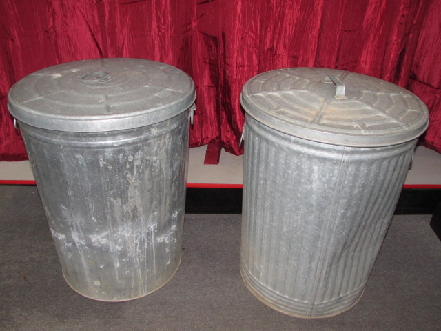 galvanized trash can lot detail two galvanized trash cans with lids 28544