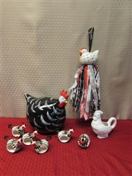 BEST CHICKEN CLUCKING LOT EVER! LARGE CERAMIC CHICKEN WITH NAPKIN RING CHICKS & ROOSTER CREAMER