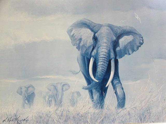 Lot Detail - PROFESSIONALLY FRAMED ELEPHANT PRINT BY d. VAN HOWD