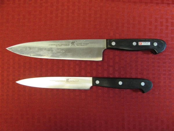 lot detail two high quality j a henkels chef 39 s knives german twin series in excellent condition. Black Bedroom Furniture Sets. Home Design Ideas