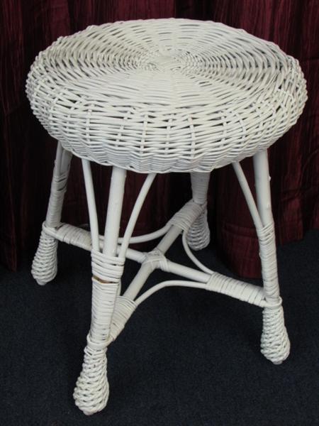 Lot Detail White Wicker Stool Table Waste Basket