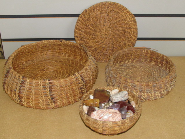... FABULOUS HANDWOVEN PINE NEEDLE BASKETS NICE PLACE TO DISPLAY ROCK  COLLECTION, POLISHED STONES, SHELLS