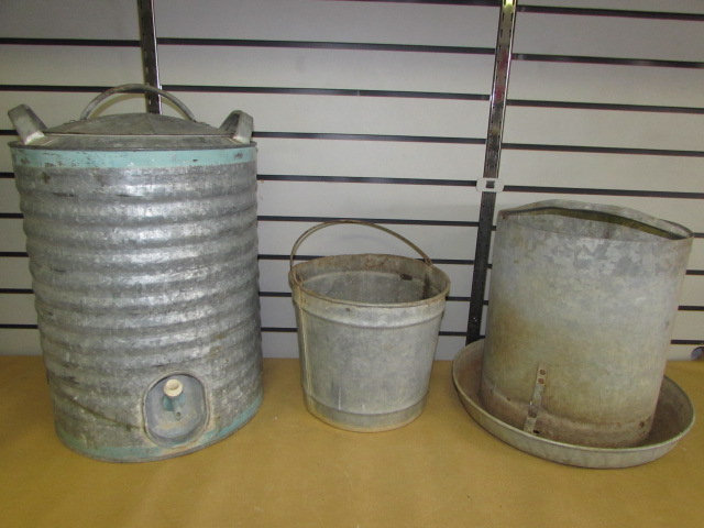 Very best Lot Detail - GOOD 'OL VINTAGE GALVANIZED WATER COOLER, BUCKET  CB61