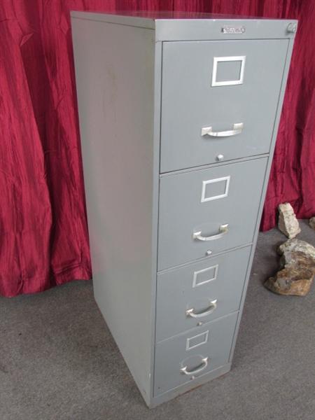 Lot Detail Vintage Sturdy Metal Four Drawer File Cabinet
