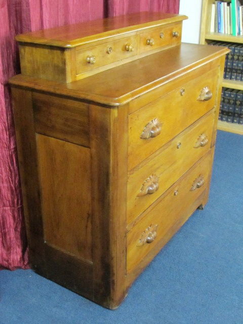 Simply Charming All Wood Antique Dresser With Carved Pulls Locks 2 Notion Drawers