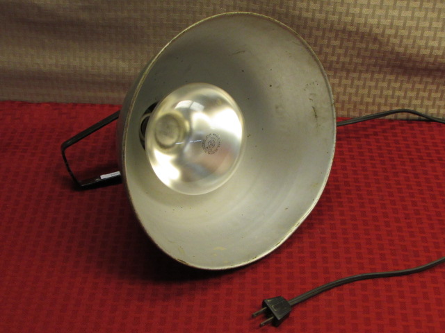 keep your baby chicks warm with this vintage metal hanging heat lamp. Black Bedroom Furniture Sets. Home Design Ideas