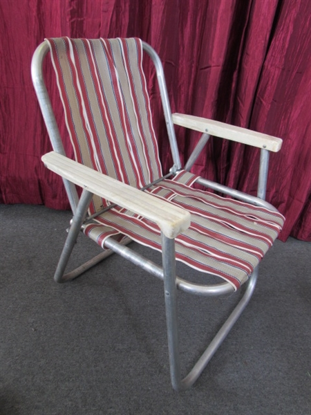 Lot Detail VINTAGE ALUMINUM FOLDING LAWN CHAIR & ROCKING CHAIRS WITH LO