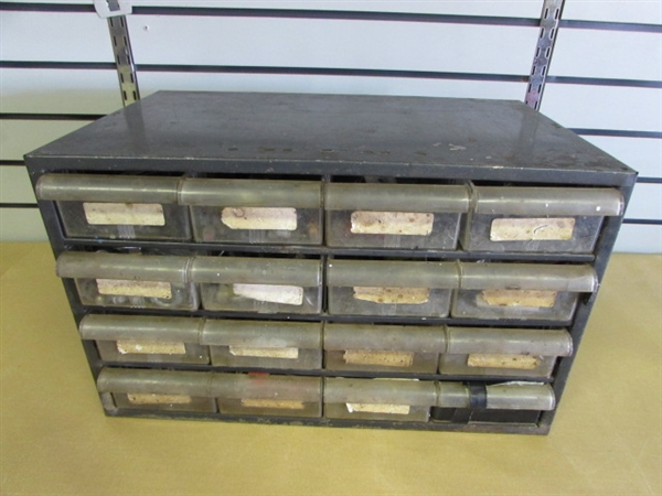 lot detail - great metal industrial parts cabinet with 16 drawers