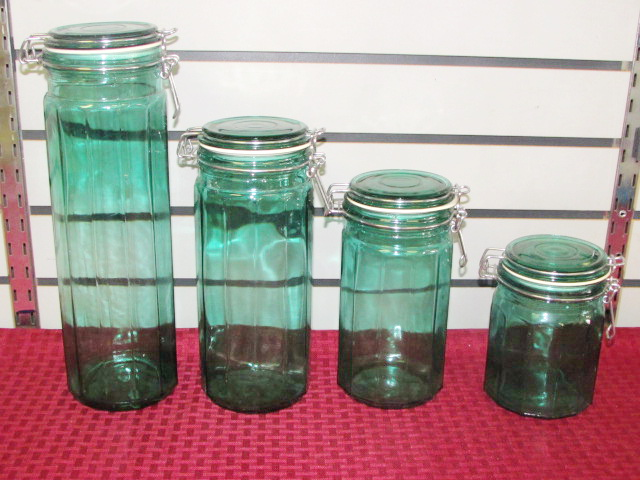 FOUR PIECE KITCHEN CANISTER SET IN BEAUTIFUL GREEN GLASS ...