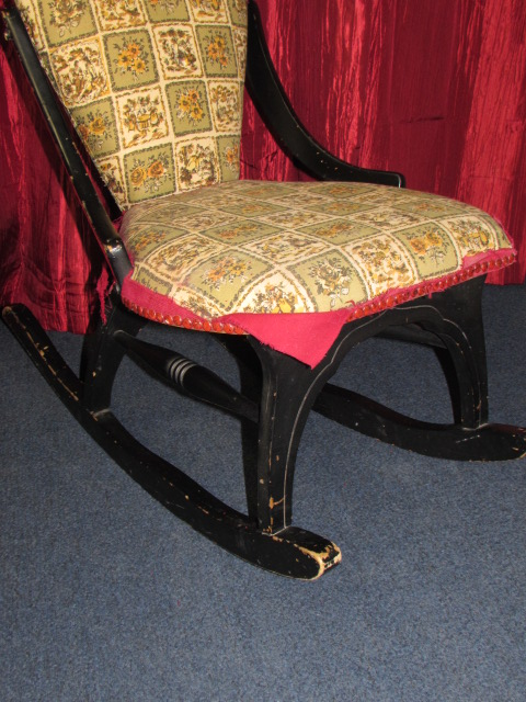 CHARMING ANTIQUE UPHOLSTERED ROCKING CHAIR ...