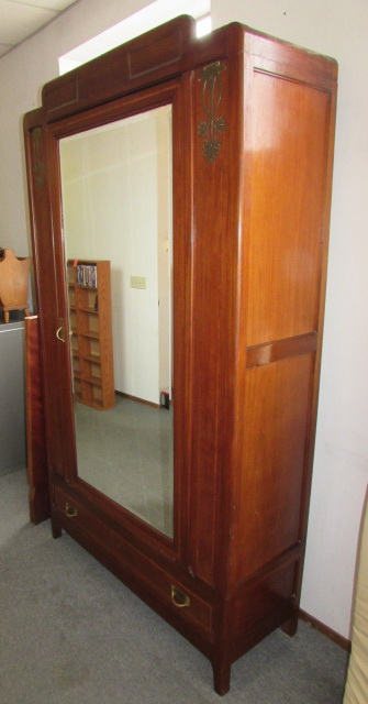 Lot Detail Stunning Antique Armoire With Mirrored Door