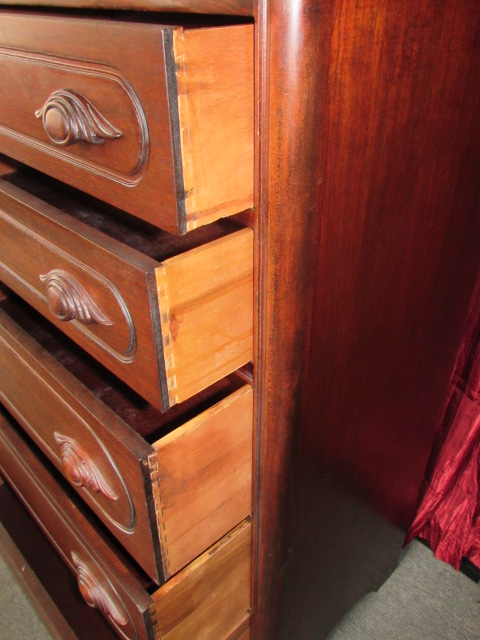 Lot Detail Gorgeous Antique Tall Boy Dresser With Hand